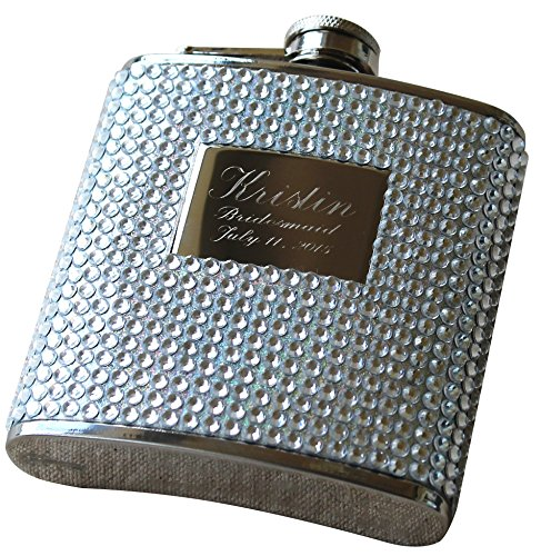 Custom Personalized Silver Bling Flask - Bridesmaid Gift, Bachelorette Party Hip Flask - Engraved Monogrammed for Free