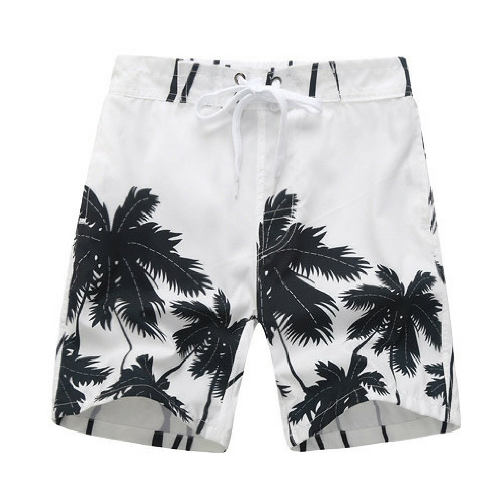 Kute 'n' Koo Big Boy's Swim Shorts, Palm Tree Quick Dry Swim Trunks for Boys WHITE) 1313