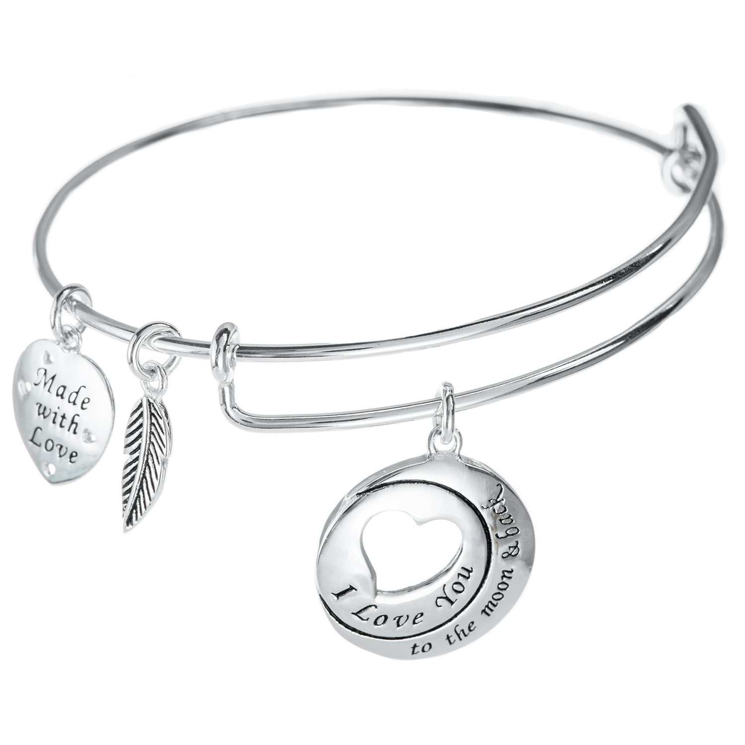 Qina C Sterling Silver I Love You to The Moon and Back Dangle Charm Adjustable Wire Bangle Bracelet