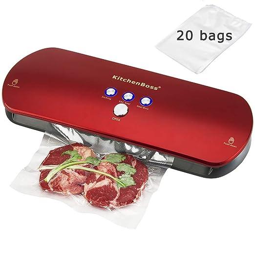 KitchenBoss Envasadora de Alimentos al Vacío,Sistema de Sellado Automático por Vacío,con Kit de Arranque 20 Bolsas Envasado al Vacío (Rojo)