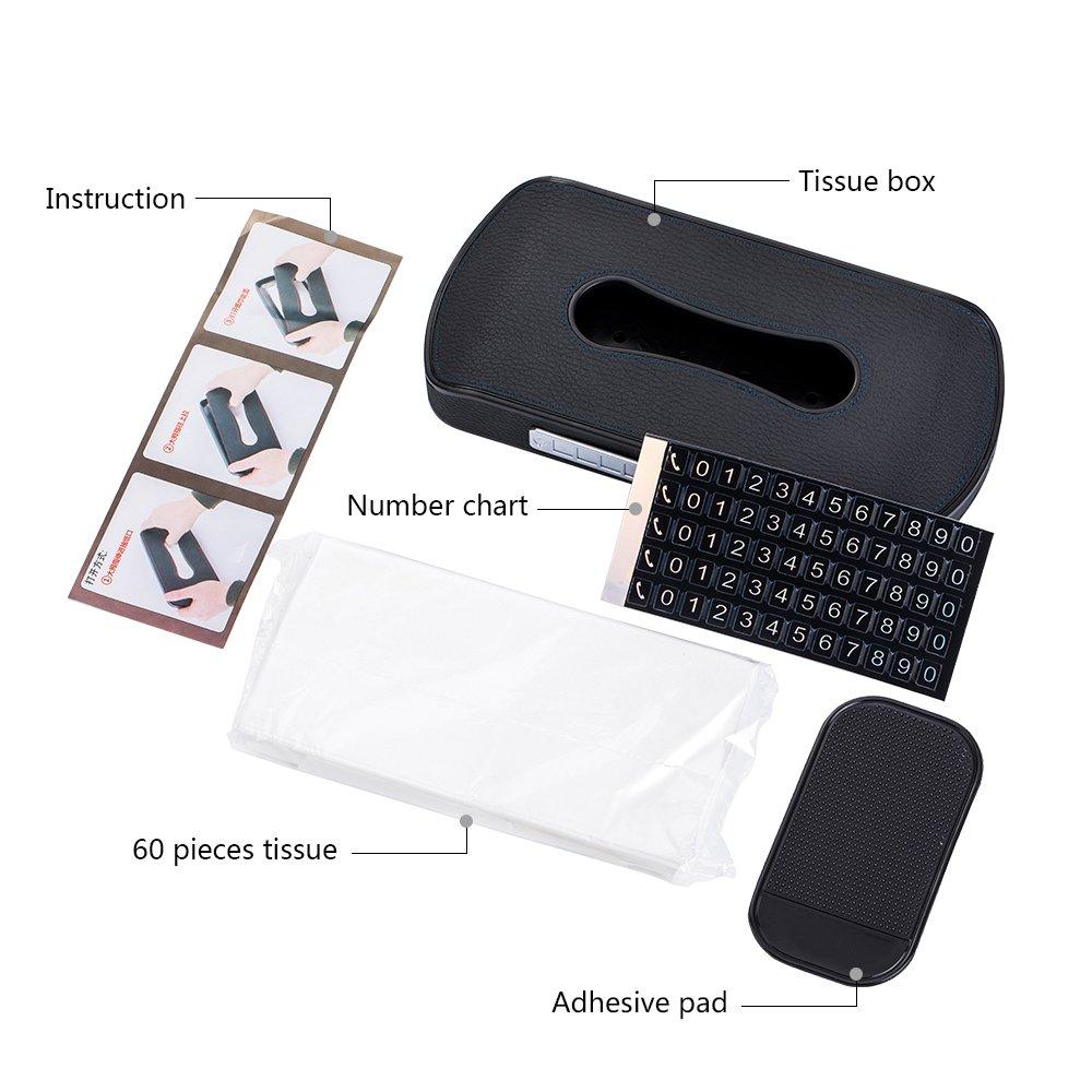 FMS Pelle Scatola Fazzoletti Auto Porta Fazzoletti la Progettazione Con Gli Adesivi Del Numero di Telefono e slot per schede Nero