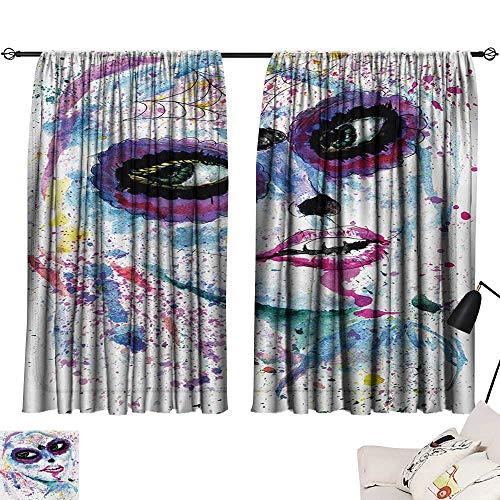 Ediyuneth Navy Curtains Girls,Grunge Halloween Lady with Sugar Skull Make Up Creepy Dead Face Gothic Woman Artsy,Blue Purple 63