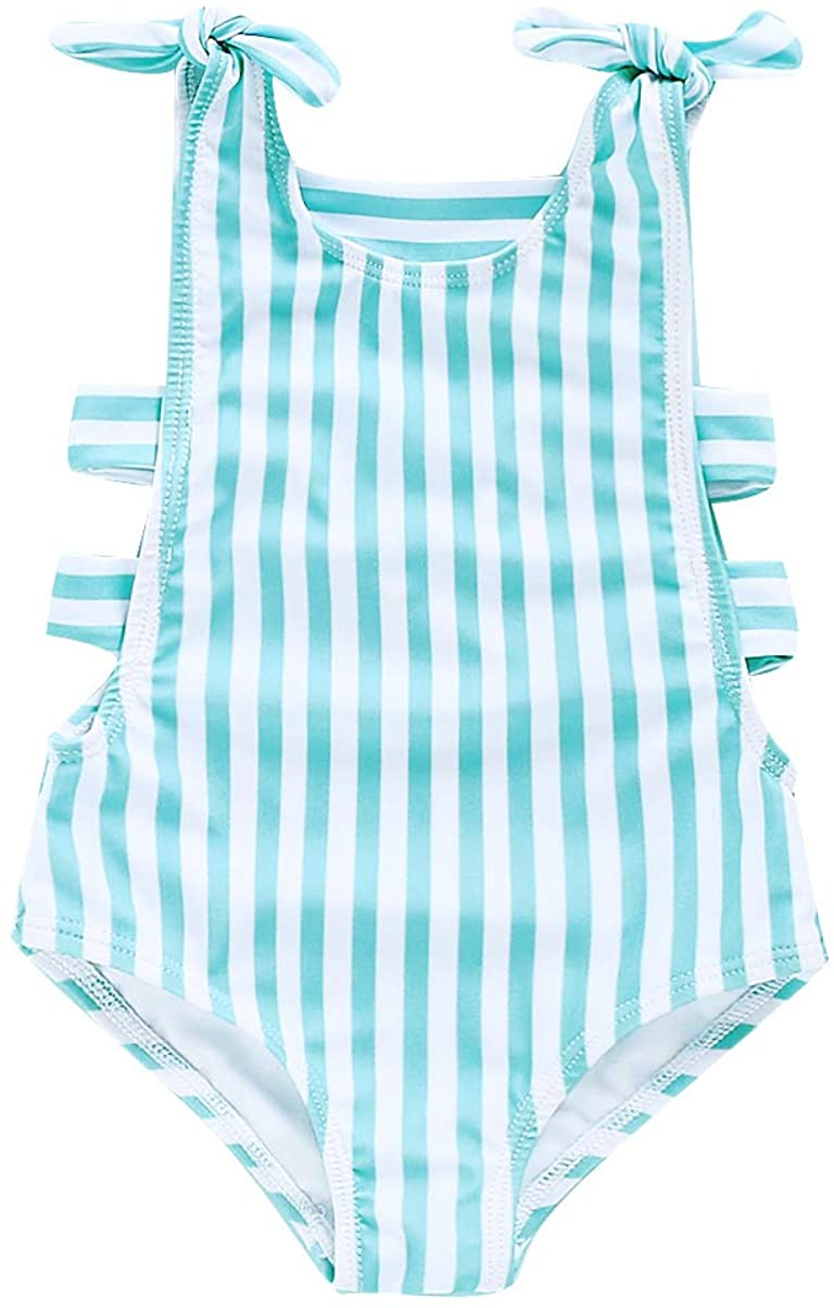 Toddler Baby Girls One-Piece Swimsuit Beachwear Twins Rainbow Striped Swimwear Sister Matching Bathing Suits