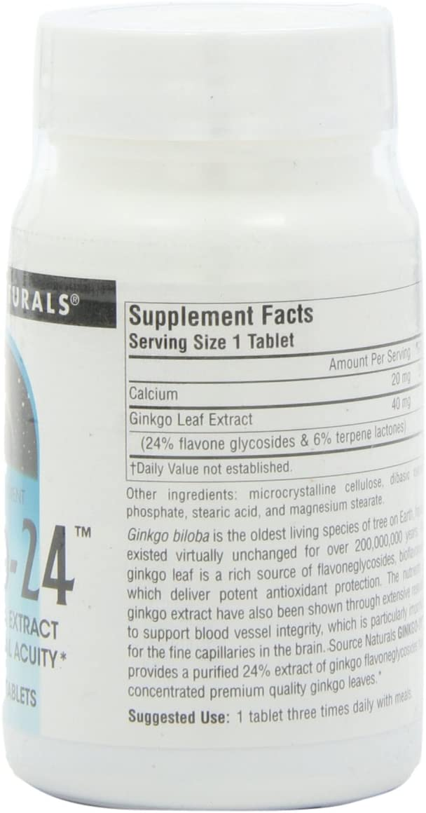 Source Naturals Ginkgo-24 – Ginkgo Biloba Extract 40 mg Supports Mental Acuity – 120 Tablets