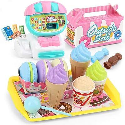 weepo Kids Durable Cash Register Toy Simulation Toy Set Role Play Pretend Toy Set (22pcs/Set): Home & Kitchen