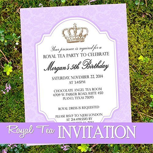 amazon com royal tea party invitation purple tea invitation