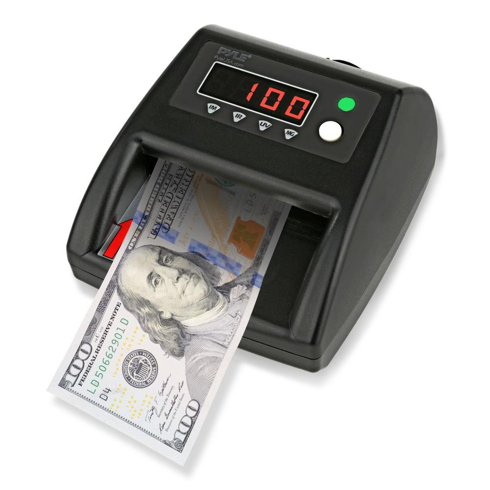 Pyle 2-in-1 Improved Bill Counter, Counterfeit Bill Detector, UV Scanning, Currency Checker, U.S. & Canadian Dollar, Euros, Pound, Less Errors Than Older Models, For Bankers or Home Use (PRMDC40)