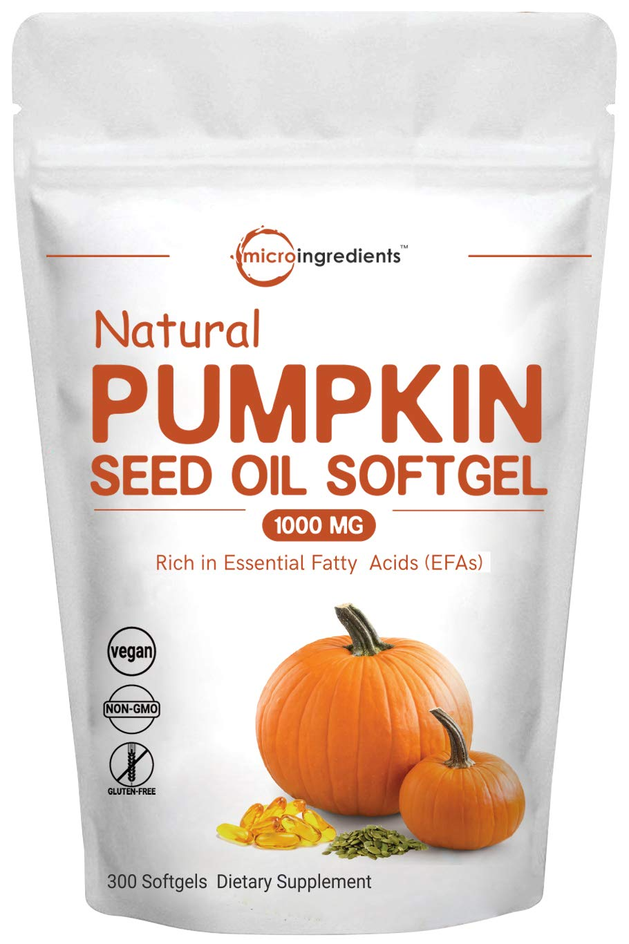 Maximum Strength Pumpkin Seed Oil 1000mg Per Servicing, 300 Liquid Softgels, Supports Urinary, Bladder and Prostate Health, No GMOs and Vegan Friendly by Micro Ingredients