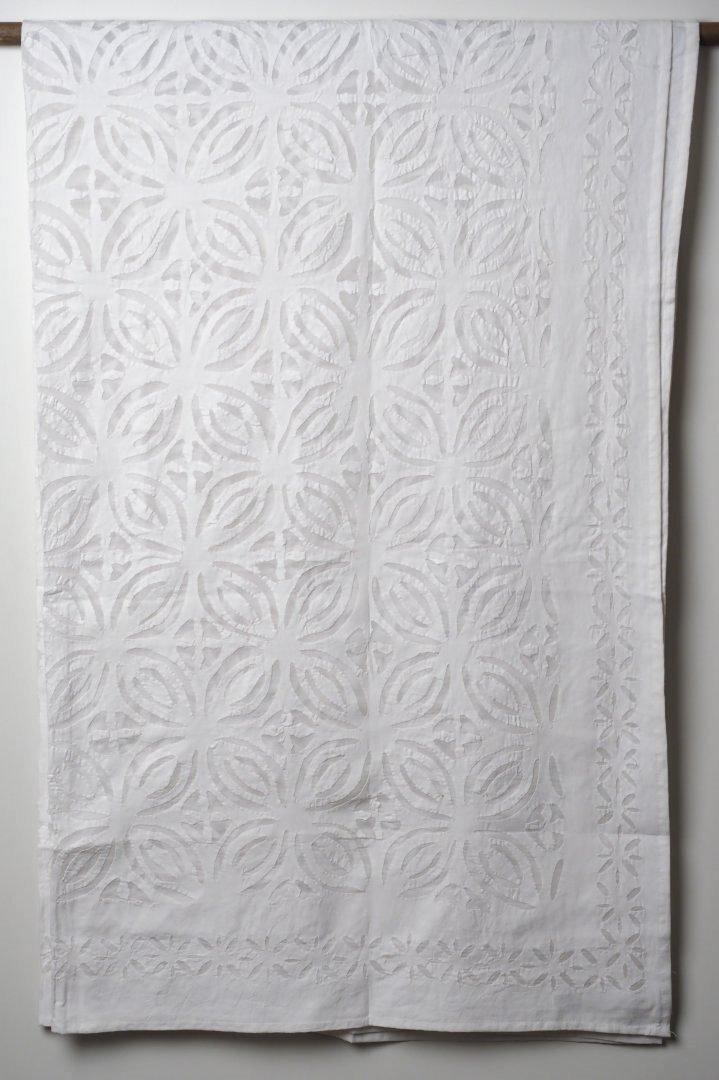 インド オーガンジーアップリケ シングルベッドカバー 白 ホワイト bcic7s6-03 B0711KGW7S