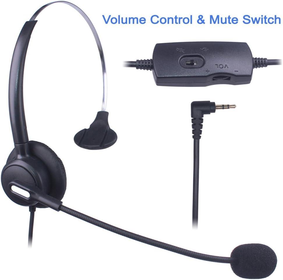 Auriculares Teléfono Fijo 2,5 mm Mono, Cancelación de Ruido Micrófono, Control de Volumen, Cascos Teléfono inalámbrico para Panasonic Polycom Grandstream Gigaset Cisco Linksys SPA Zultys(X103VP): Amazon.es: Electrónica