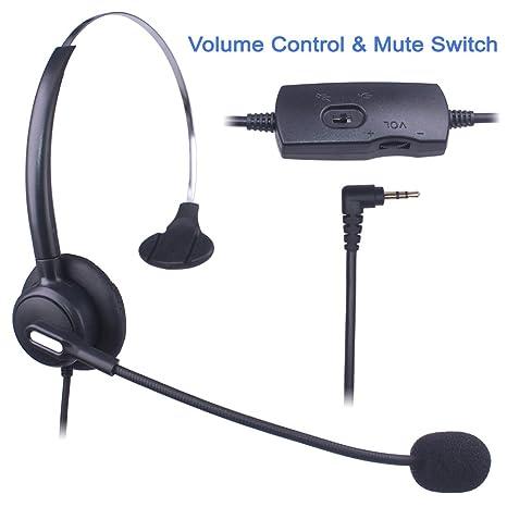 Auriculares Teléfono Fijo 2,5 mm Mono, Cancelación de Ruido Micrófono, Control de