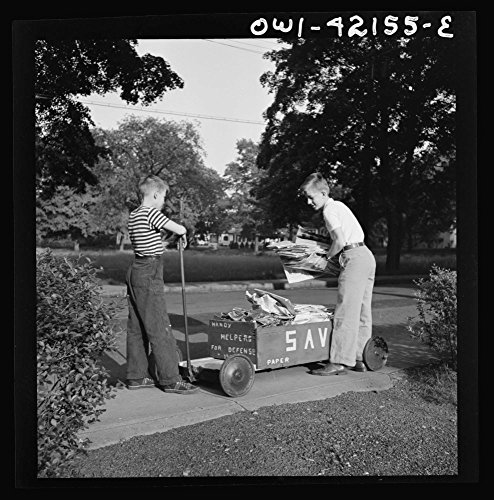 1942 Photo Southington, Connecticut. Boys collecting paper for war conversion Location: Connecticut, Hartford County, ()