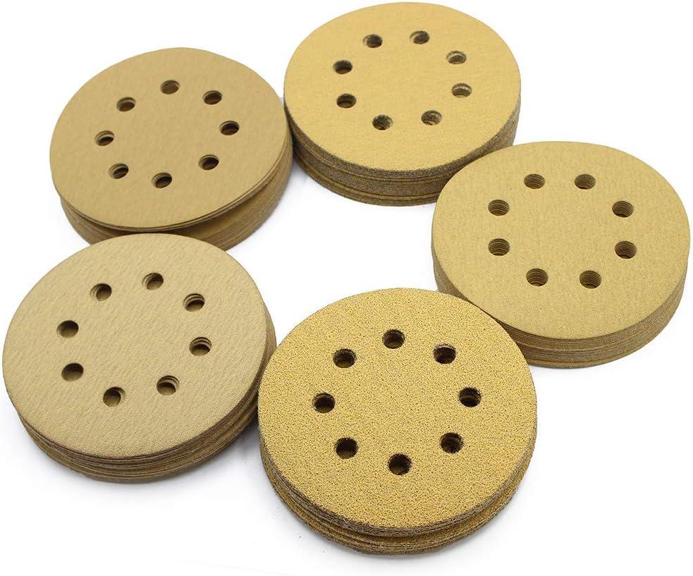 60PCS 40 60 80 100 180 240 Grit Assorted Sandpaper Random Orbital Sander Hook and Loop Sand Paper 5 Inch 8-Hole Sanding Discs by LotFancy