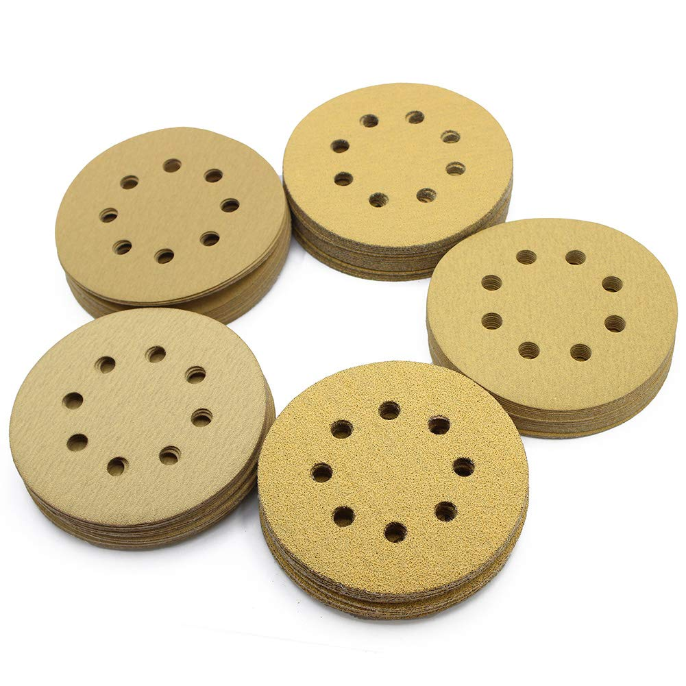 5in Sanding Discs, 100PCS 60 80 120 150 220 Grit Sandpaper Assortment, 8 Holes Dustless Hook and Loop, Random Orbital Sander Sand Paper, by LotFancy by LotFancy