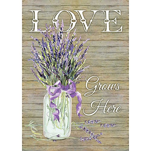 Dicksons Love Grows Here Florals Rustic Lavender 13 x 18 Rectangular Small Garden Flag ()