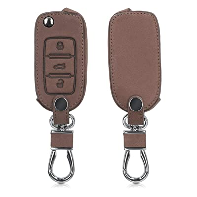 kwmobile Car Key Cover Compatible with VW Skoda SEAT 3 Button Car Key - PU Leather Protective Key Fob Cover - Dark Brown: Automotive