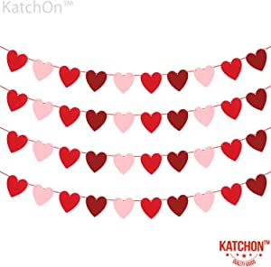 Felt Heart Garland Banner - NO DIY - Valentines day Banner Decor -Valentines Decorations - Anniversary, Wedding, Birthday Party Decorations - Red, Rose Red and Light Pink Color
