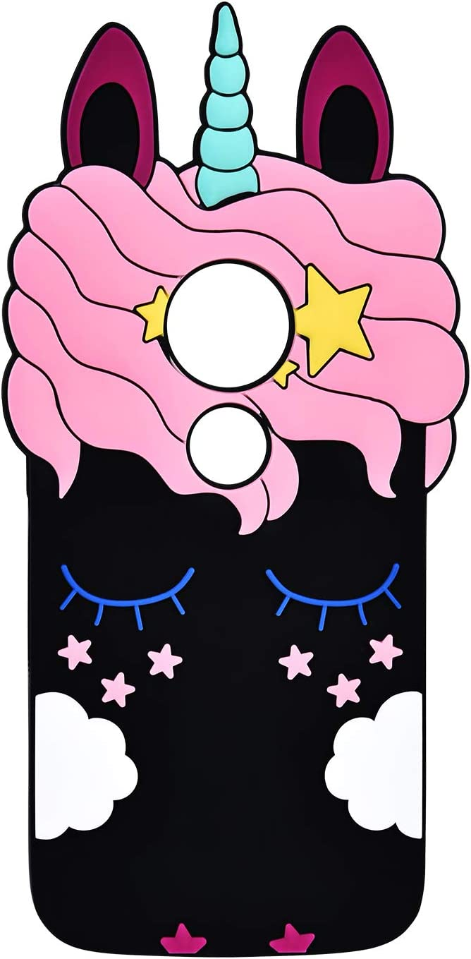 TopSZ Black Unicorn Case for Motorola Moto E5 Play,Moto E5 Cruise,3D Cartoon Silicone Character Kawaii Animal Cover,Cute Girls Kids Teens Guys Funny Rubble Vivid Color Protective Cases for Moto E5Play