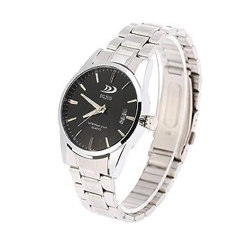 Relojes de Hombres con Correa de Aleación Reloj de Negocios para Hombres 3 Tipos(Negro): Amazon.es: Belleza
