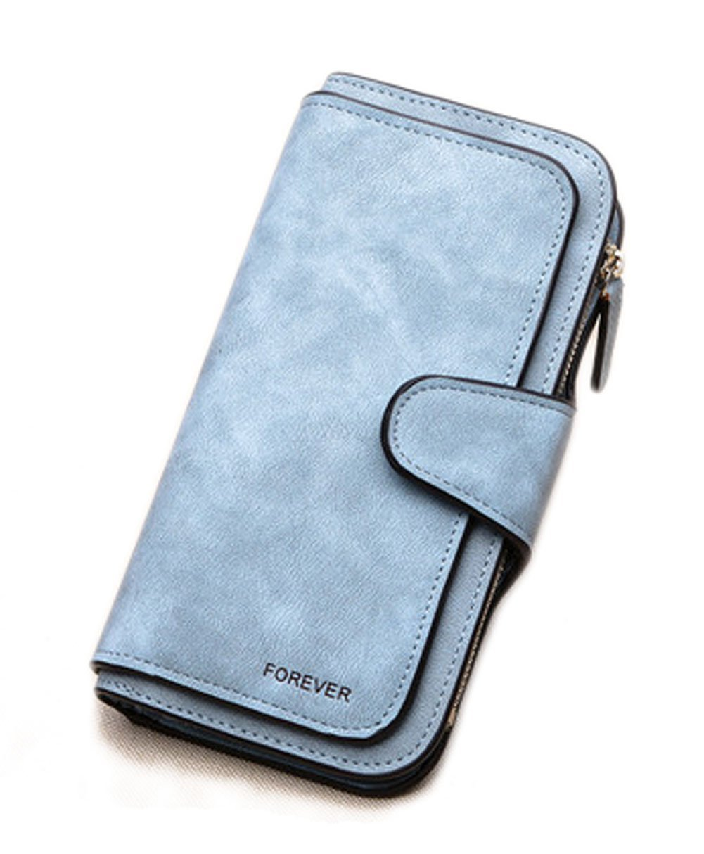 buy popular 4058f 340bb RFID Blocking Large Capacity Bifold PU Leather Phone Card Holder Organizer  Snap Wallet with Zipper Pocket for Women