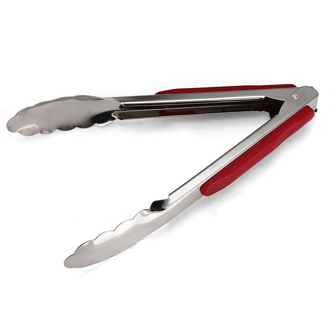 Stainless Steel Bread Clips Kitchen Tongs Food Cabob Steak Microwave Oven Barbecue Cooking Tool With Red ABS Hand Cover ASTrade TRTA11A