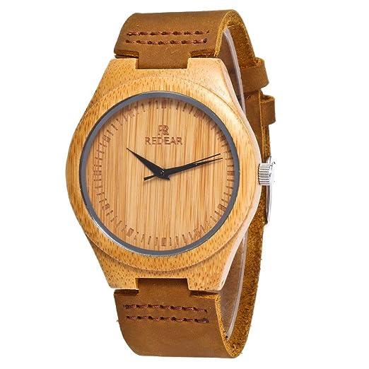 Espeedy Hombres de moda mujer de bambú de lujo de madera reloj de cuarzo relojes de cuero: Amazon.es: Relojes