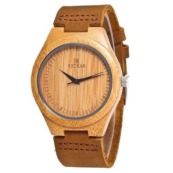 Espeedy Hombres de moda mujer de bambú de lujo de madera reloj de cuarzo relojes de