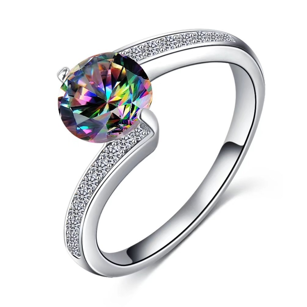 FENDINA Antique Cross Style Band Womens 18K White Gold Plated Round Cut 1.5ct Created Mystic Rainbow Topaz Wedding Eternity Rings Size 7