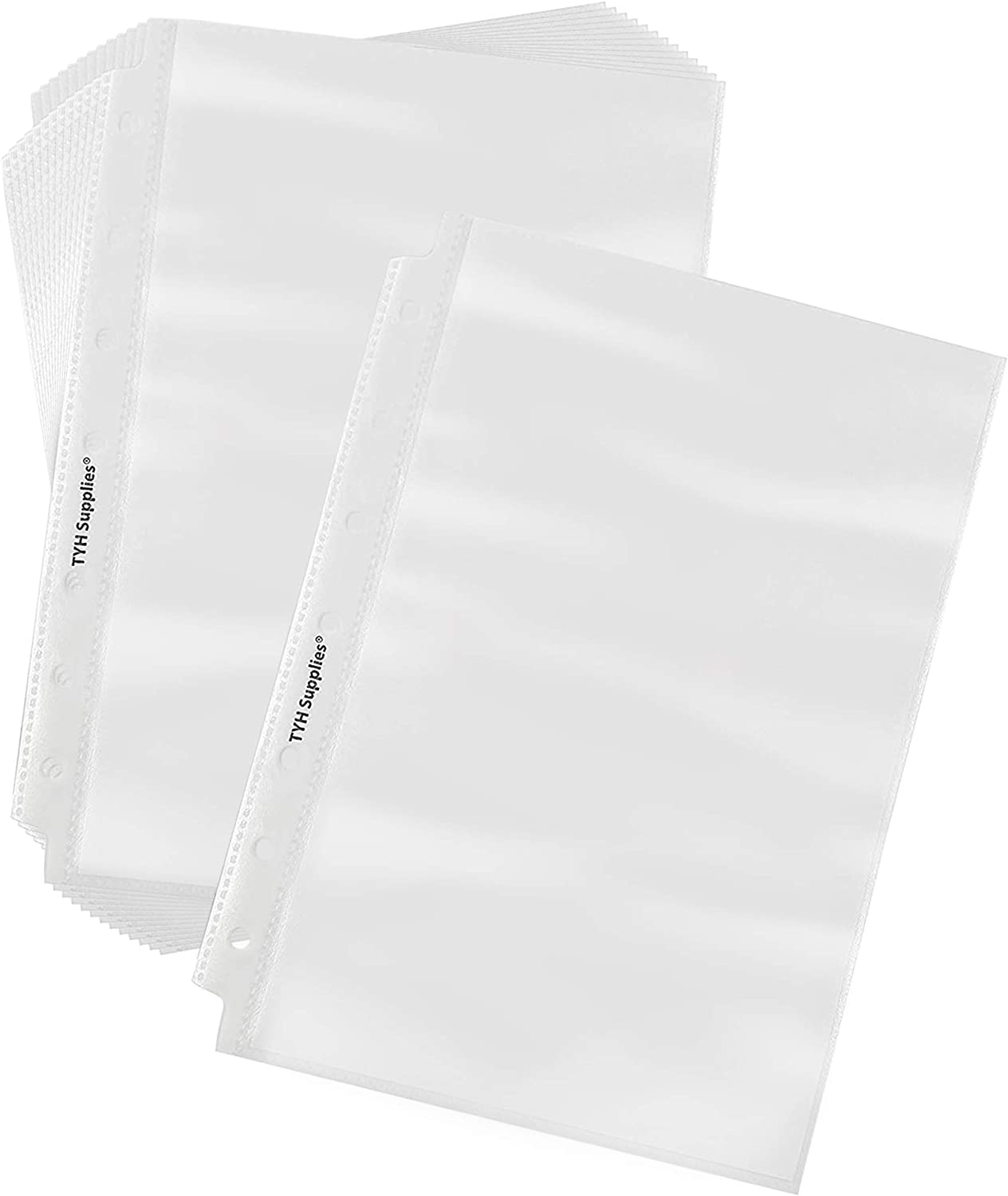 TYH Supplies 100-Pack Economy 7 Hole Half Page Small Clear Mini Sheet Protectors 5.5 x 8.5 Inches A5 Non Vinyl Acid Free