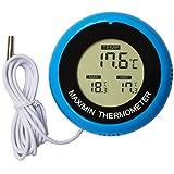 Aiija デジタル水温計 ペット 爬虫類用 デジタル温度計 インキュベーター モニターメーター 液晶デジタルプローブ 小型