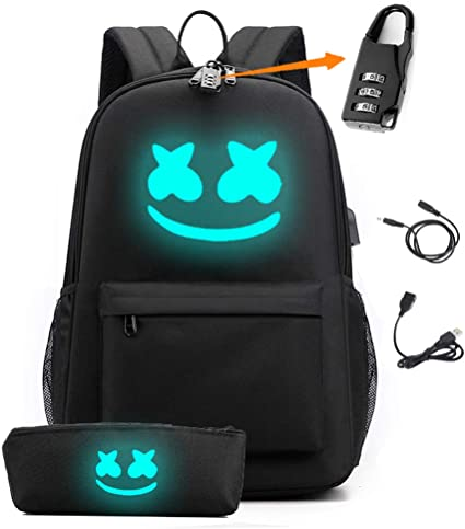 Smile Luminous Backpack with USB Charging Port & Anti-theft Lock & Pencil Case for School, Unisex School Bookbag Daypack Laptop Backpack (Black)