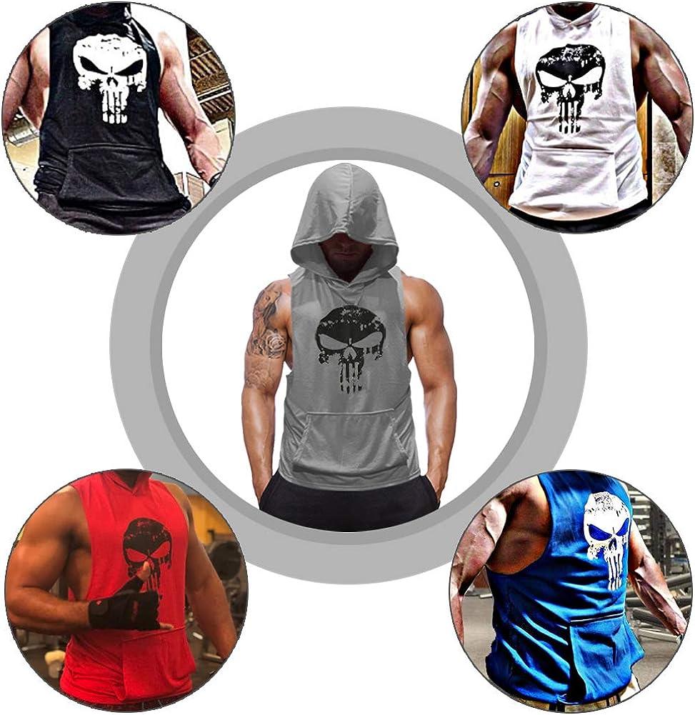 SZKANI 3 Packs Mens Skull Print Sleeveless Fitness Vest Bodybuilding Stringers Workout Tank Tops