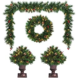 LB International EFD102604 Lighted Entranceway Topiary Set
