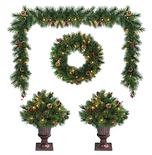 Christmas Topiary - LB International EFD102604 Lighted Entranceway Topiary Set