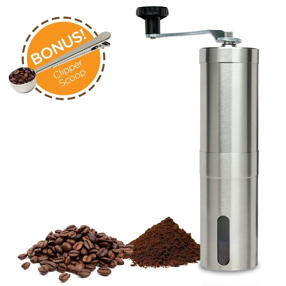 Swift Coffee Grinder | 4 Pcs Premium Portable Stainless Steel Manual Coffee Grinder Mill with Adjustable Ceramic Burr and Clipper Scoop for Bean Herb Spice Espresso Press | 1209.03 by Swift Coffee Grinder