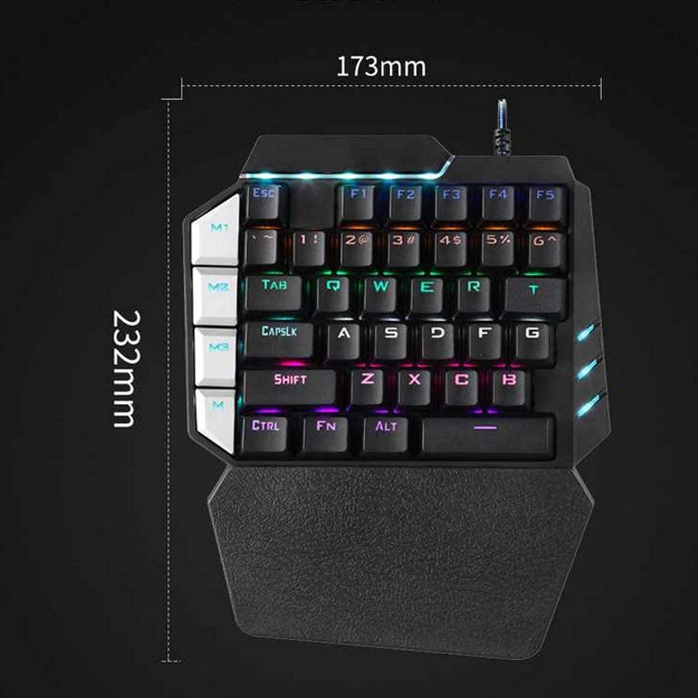 CQIANG Single Hand Mechanical Gaming Keyboard, USB Wired Gaming Keypad Wide Hand Rest with 38 Button RGB Gaming Keyboard Colorful Backlight for Game Keyboard Windows PC Gamer Desktop