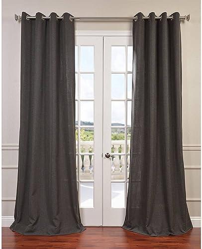 HPD Half Price Drapes FHLCH-VET13195-108GR Grommet Heavy Faux Linen Curtain 1 Panel