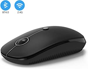 2.4GHz Wireless Bluetooth Mouse, Jelly Comb Dual Mode Slim Wireless Mouse with 2400 DPI Compatible for PC, Laptop, Mac, Android, Windows (Black)