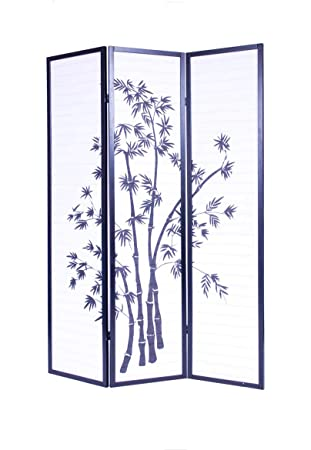 Roundhill Furniture 3 Panel Oriental Shoji Room Divider Screen Black