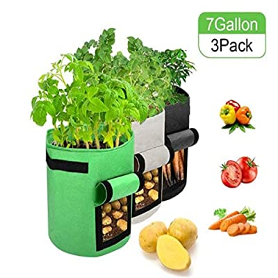 DUTISON 3 Pack Potato Grow Bag Thickened Breathable Non-Woven Plant Receptacle Fabric Pots with Handles for Potatoes Tomatoes Carrot (7 Gallon, Green+Gray+Black) : Garden & Outdoor