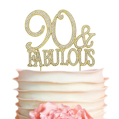 90 And Fabulous GOLD Cake Topper