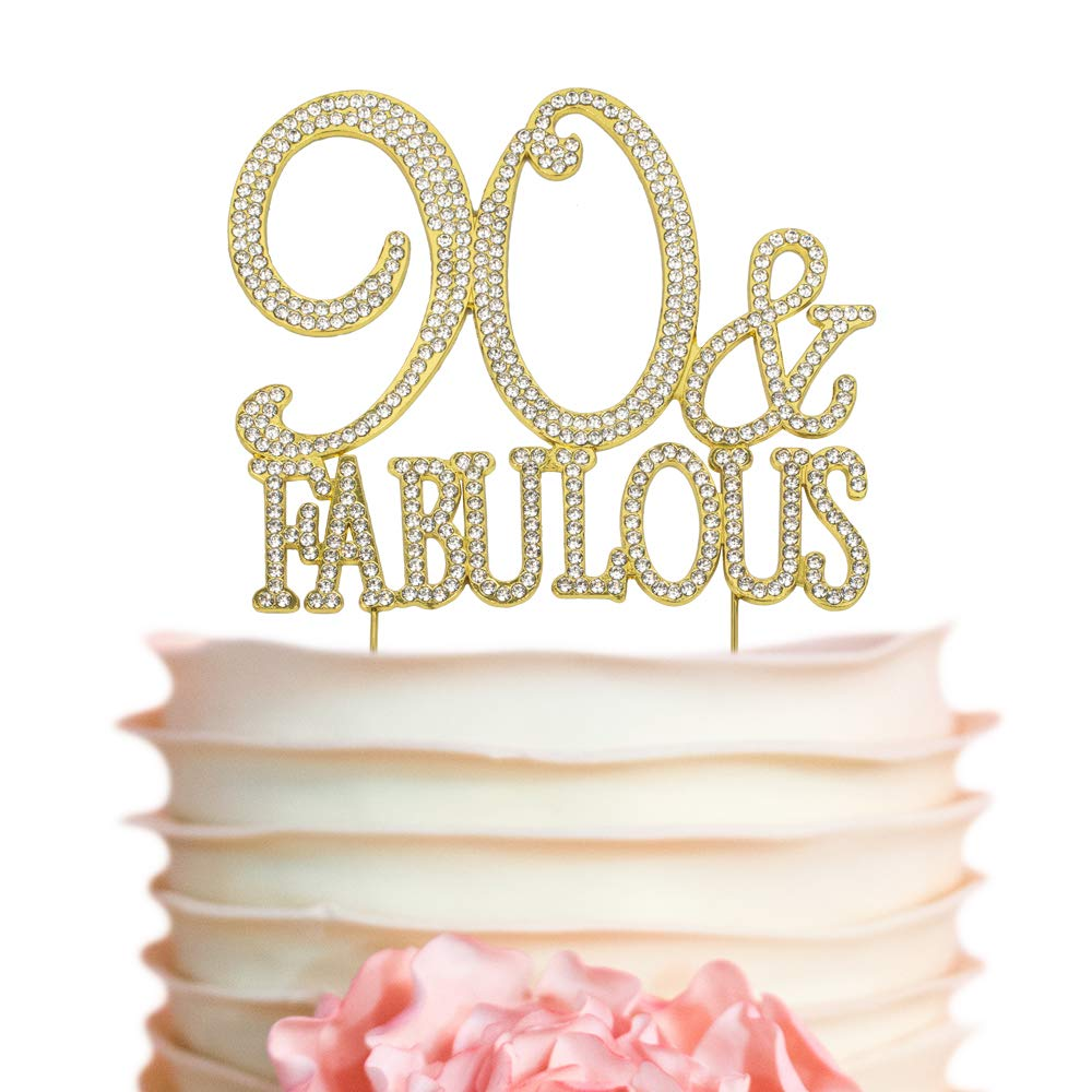 90 and Fabulous GOLD Cake Topper | Premium Sparkly Crystal Rhinestones | 90th Birthday Party Decoration Ideas | Quality Metal Alloy | Perfect Keepsake (90&Fab Gold)