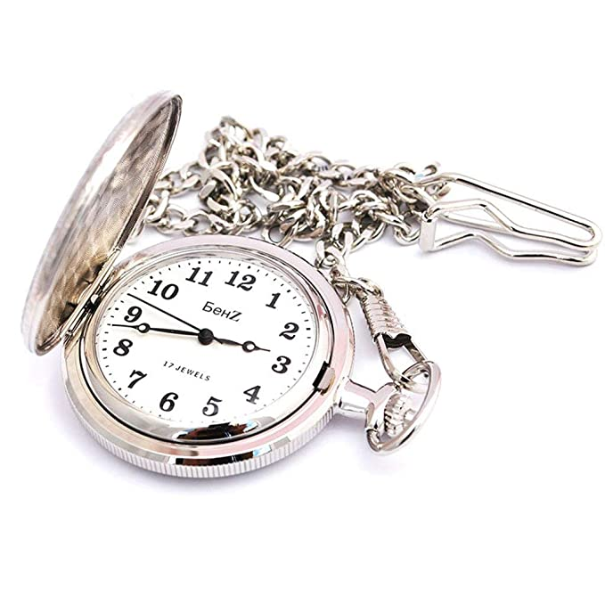 b024449b3335 Amazon.com  Men s Classic Style Two Tone 17 Jewels Wind up Pocket Watch   Watches