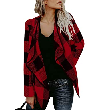 908836abbc OUR WINGS Womens Casual Autumn Black Red Buffalo Plaid Open Front Jacket  Lapel Coat S