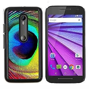"Be-Star Único Patrón Plástico Duro Fundas Cover Cubre Hard Case Cover Para Motorola Moto G (3rd gen) / G3 ( Pluma del pavo real colorido ojo pájaro mágico"" )"