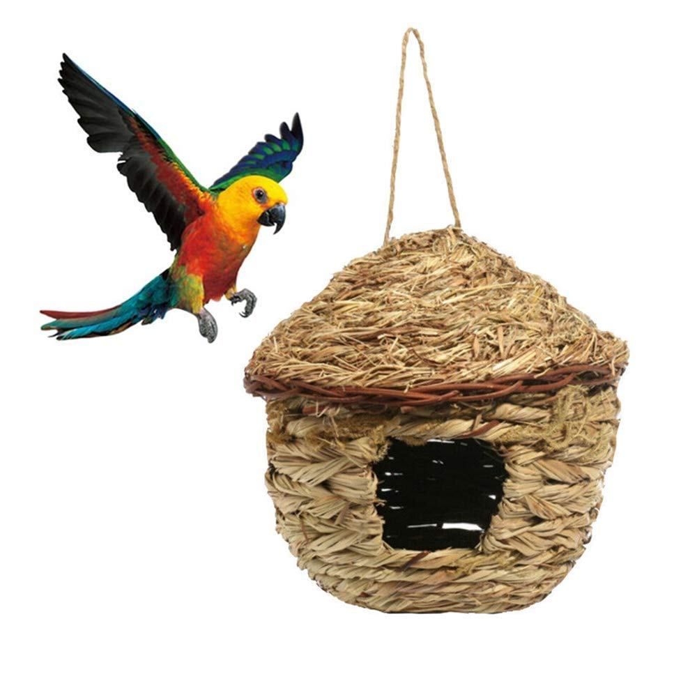 Bird Nest Breeding Cage Bird House for Outside Hanging, Straw Hand Woven Bird Nesting Box Bird Home for Parrot, Cockatiel, Parakeet, Canary, Finch Bird, Hummingbird, Dove, Budgie by Chnee