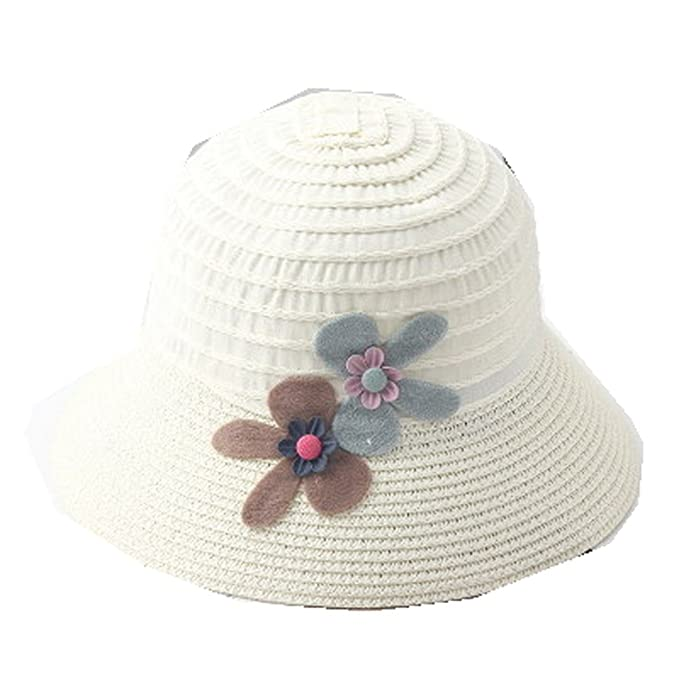 5085b2a4b6b Image Unavailable. Image not available for. Color  AOBRITON Straw Baby Sun  Hat with Flowers Kids Summer Brim ...