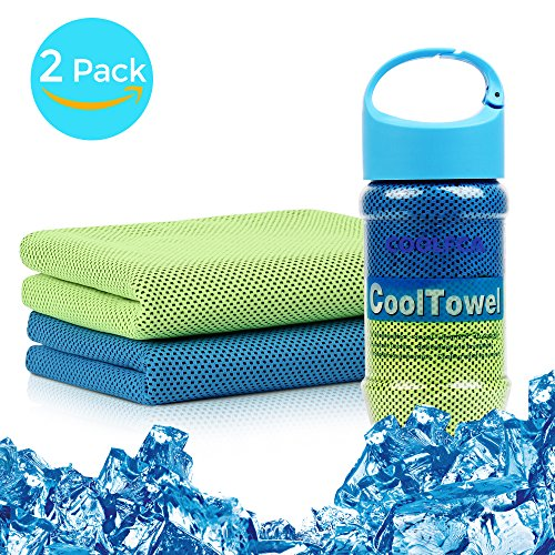 Cooling Towels, Evaporative Sunscreen Reusable Sweat-Absorbent Snap Cooling Beach Towel for Sports/Workout/Fitness/Gym/Yoga/Pilates/Travel/Camping