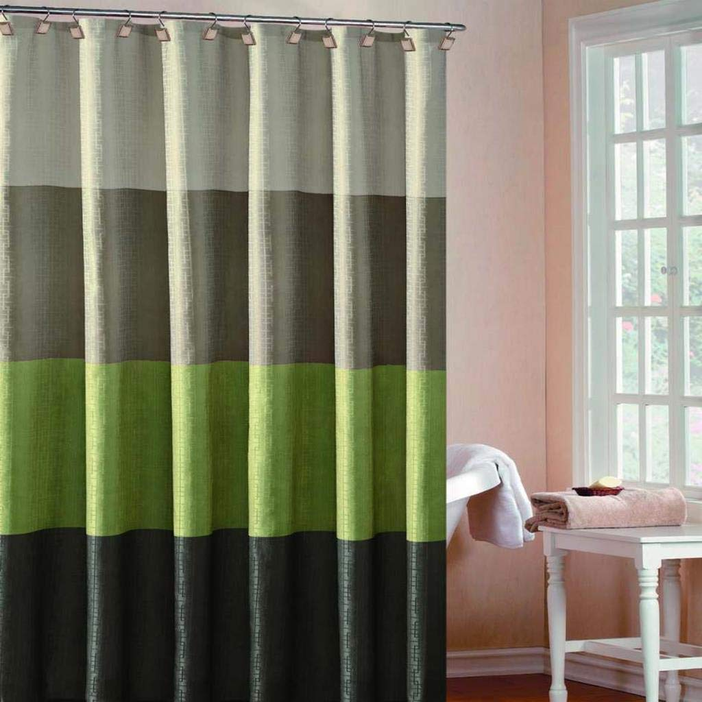 DUCK RIVER TEXTILES - Multi Color Fabric Shower Curtain Liner Waterproof Hampton, 70 X 72 Inch, Sage Green