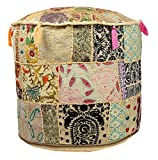 Maniona Crafts Indian Vintage Ottoman Pouf Cover ,Patchwork Ottoman, Living Room Patchwork Foot Stool Cover,Decorative Handmade Home Chair Cover 14x22x22 Inch